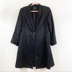 Eileen Fisher Black Silk Lined Blazer Jacket Sz M